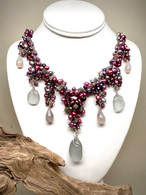 Gray Sea Glass & Chalcedony Cluster Pearl Necklace