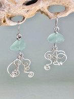 Sea Glass Jellyfish Hammered Sterling Earrings