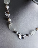 Swarovski Crystal Hearts & White Sea Glass Necklace