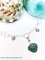 "Sea Green Sea Glass Heart ""Love"" Necklace"