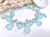 Turquoise Sea Glass Cluster Charm Bracelet