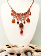 Amber Sea Glass Copper Chainmail & Swarovski Choker Necklace