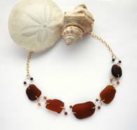14k amber & rootbeer seaglass chunk