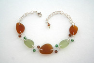 Amber, Light Moss, and Crystal Bracelet