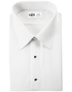 White Como Laydown Tuxedo Shirt by Cardi