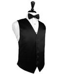 Black Full Back Silk Tuxedo Vest by Cardi