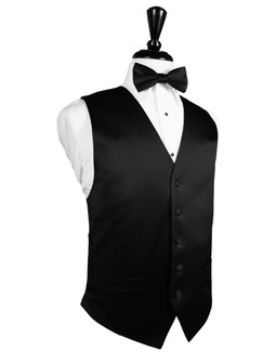 Black Full Back Silk Tuxedo Vest by Cardi
