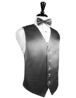 Silver Silk Tuxedo Vest