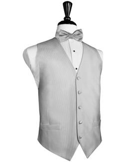 Faille Silk Silver Full Ivory Silk Tuxedo Vest by Cardi