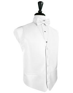 Pure White Herringbone Tuxedo Vest