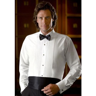 Laydown Collar Tuxedo Shirt in White