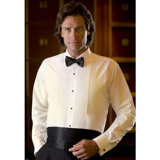Tuxedo Shirt with Laydown Collar in Ivory