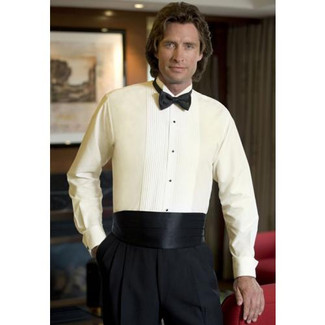 Tuxedo Shirt with Wing Collar Ivory
