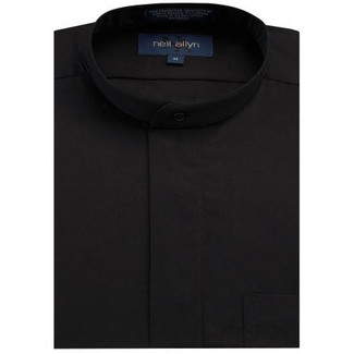 Mandarin Tuxedo Shirt Fly Front  Black