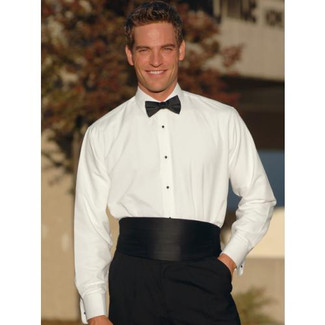 Laydown Collar Tuxedo Shirt Non Pleated