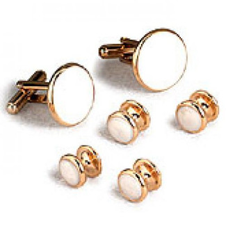 White Cufflinks and Studs with Gold Trim