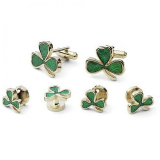 Three Leaf Clover Studs and Cufflink Set