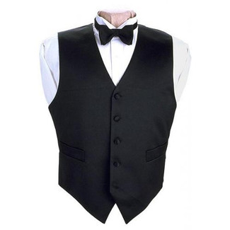 Full Back 100% Silk Tuxedo Vest Black