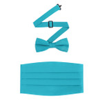 Satin Cummerbund and Bow Tie Set in Teal