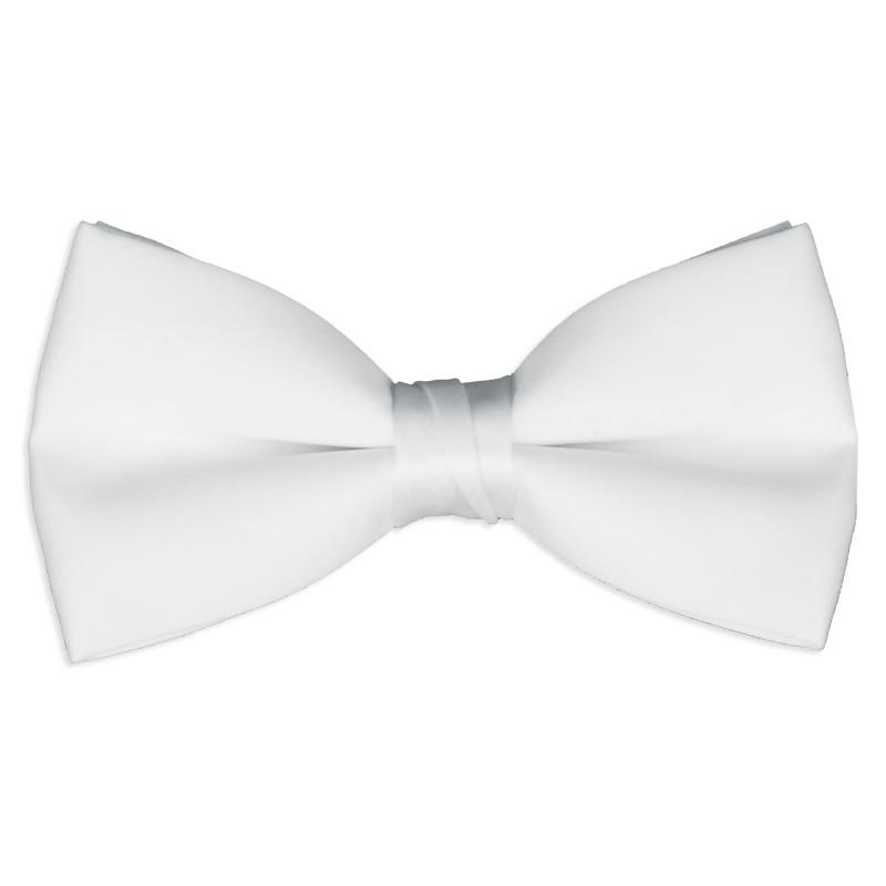30ae51eef6f7 Satin White Pre-Tied Tuxedo Bow Tie