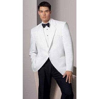 White Dinner Jacket in a 2 Button Notch Lapel