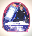 United Airlines Blonde Flight Attendant Doll with Beverage Cart and Backpack