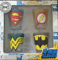 DC Comics Original Logos Set of 4 Shot Glasses Flash Superman Wonder Woman Batman