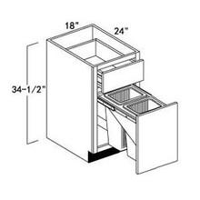 """Oak Shaker Base Waste Basket Cabinet 18""""W"""