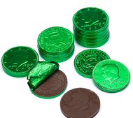 Chocolate Coins 6 Pound (lb) Green CASE