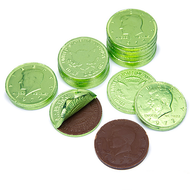 Chocolate Coins Kiwi Green 6 LBS CASE