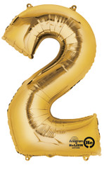 "Anagram Giant Foil Number ""2"" Balloon/Gold 33"" Tall"
