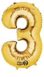 "Anagram Giant Foil Number ""3"" Balloon/ Gold 34"" Tall"