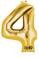 "Anagram Giant Foil Number ""4"" Balloon/Gold 36"" Tall"
