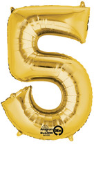 "Anagram Giant Foild Number ""5"" Balloon/Gold 33"" Tall"