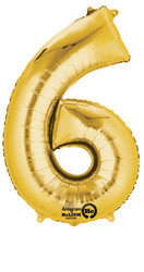 "Anagram Giant Foil Number ""6"" Balloon/Gold 34"" Tall"