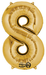 "Anagram Giant Foil Number ""8"" Balloon/Gold 34"" Tall"