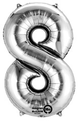 "Anagram Giant Foil Number ""8"" Balloon/Silver 34"" Tall"