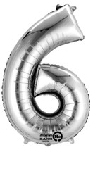 "Anagram Giant Foil Number ""6"" Balloon/Silver 34"" Tall"