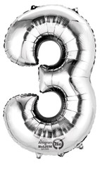 "Anagram Giant Foil Number ""3"" Balloon/Silver 34"" Tall"