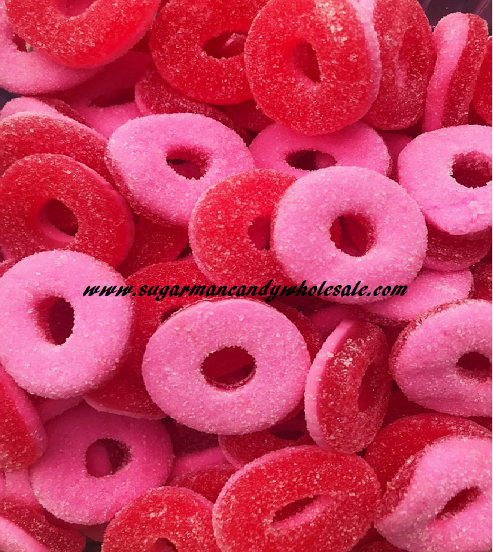 Pink & Red Gummi Watermelon Rings 5 lbs