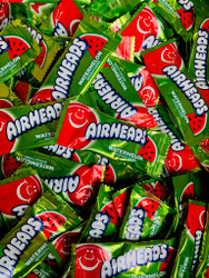 Airheads Mini Green Watermelon Flavor 25 lbs  CASE
