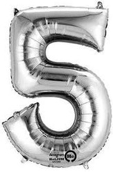 "Anagram Giant Foil Number ""5"" Balloon/Silver 33"" Tall"