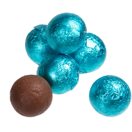 Chocolate Foil Marbles Balls Carribean Blue 1.5 Pounds