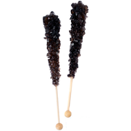 Black Rock Candy on Sticks Wrapped 48 count