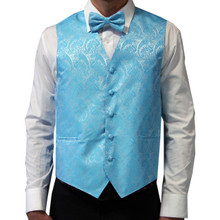 Amanti Men's 4pc Set Paisley Tuxedo Vest Turquoise