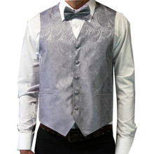 Amanti Men's 4pc Set Paisley Tuxedo Vest Grey