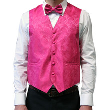Amanti Men's 4pc Set Paisley Tuxedo Vest Fushia