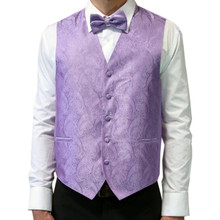 Amanti Men's 4pc Set Paisley Tuxedo Vest Lilac