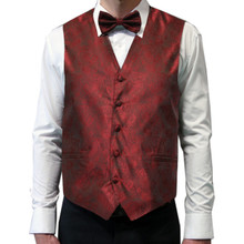 Amanti Men's 4pc Set Paisley Tuxedo Vest Burgundy