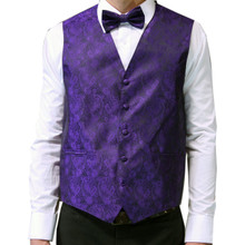 Amanti Men's 4pc Set Paisley Tuxedo Vest Purple
